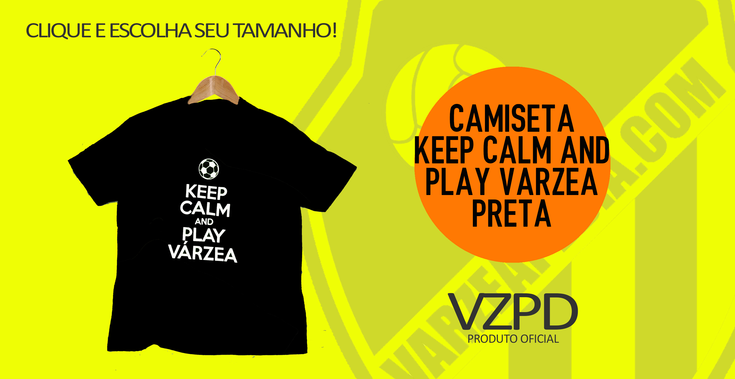 Camiseta keep calm and play varzea preta